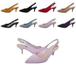Women's Pointed Toe Mid Kitten Heel Slingback Pumps Casual W