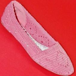 Women's SODA RENEE Pink Knit Slip On Ballet Flats Loafers Ca