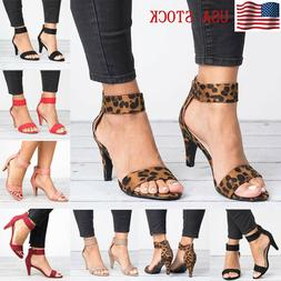 Women's Thin High Heels Sandals Summer Buckle Ankle Strap La