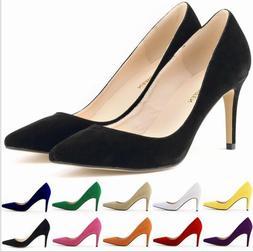 Women Suede Point Toe Stiletto Low Heels Slip on Dress Work