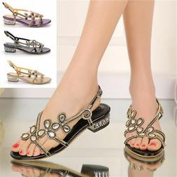 Women Summer Luxurious Rhinestones Low Heel Sandals Beach Dr