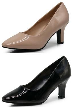 Women Wide Width Patent Gloss Mid High Heel Dress Wedge Dres