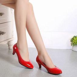 Women Work Smart Wedding Court Shoes Pumps Ladies Low Stilet