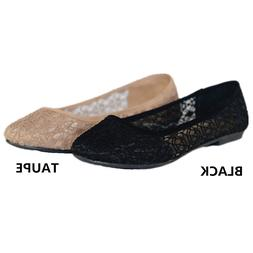 Womens Ballet Lace Mesh Flat Slip On Shoes Casual Dress Low