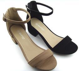 Womens Block Heel Ankle Strap Peep open Toe Buckle Sandals D