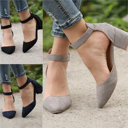 Women's Low Block Heel Pointed Toe Sandals Ladies Ankle Stra