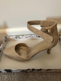 Women's dress shoes, gold sparkle, low heel, ankle strap