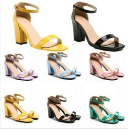 Womens Dress Shoes Open Toe Shoes Ankle Strap Block Heel San