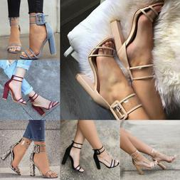 Womens High Block Heel Ankle Strap Chunky Sandals Party Dres