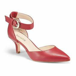 Womens Kitten Heel Pumps RED Shoes Closed Pointed Toe Ankle