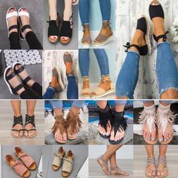 Womens Sandals Flat Wedge Strappy Espadrilles Peep Toe Beach