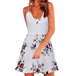 TOTOD Womens Sexy Dress Floral Summer Print Short Sleeve V N