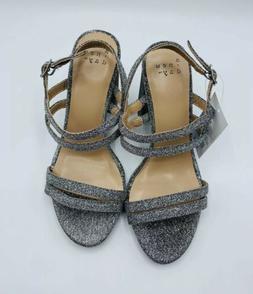 Women's Silver 4' Heels Size 6 w Chunky Platform A New D