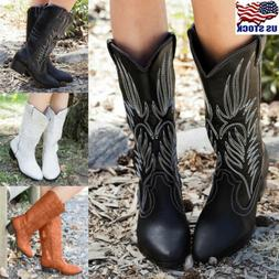 Womens Wide Mid Calf Low Block Heel Western Boots Cowboy Poi