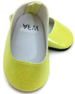 "Yellow Glitter Slip On Dress Shoes made for 18"" American Gir"
