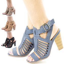 YummyDS Women Shoes Cone Block Heel Dress Sandal w Gladiator