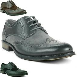 Alpine Swiss Zurich Men's Wing Tip Dress Shoes Two Tone Brog